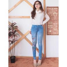 Jeans Celana Wanita Motif Bordir Sakura Flower 183 Ancien Store Di Dki Jakarta