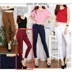 LFS Jeans Legging Wanita MURAH / Legging pants / Celana Panjang Cewek Polos / Celana Lebaran / Bawahan Cewek (persu ansje NPBM) NR D30 - Marun D3C