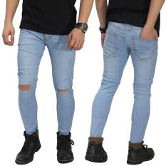 Miliki Segera Jeans Ripped On Knee Soft Blue