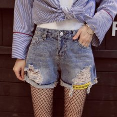 Obral Jeans Shorts Jeans Wanita Celana Pendek Pada Musim Panas Lubang Tinggi Pinggang Dicuci Denim Shorts Light Warna Intl Murah