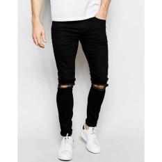 Cenala jeans pria sobek bahan Softjeans / Celana  jeans Pria  Ripped / Jeans pria Hitam