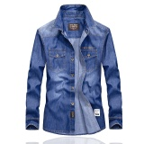 Situs Review Ukuran Besar Musim Semi Pria Lengan Panjang Kemeja Atasan Jeans Denim Biru