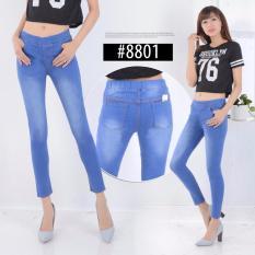 NJ - Celana Legging Jeans Wanita Bahan Bagus Murah - Ice Blue