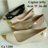 Jual Jelly Shoes Wedges Gold Black Import