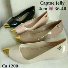 Promo Jelly Shoes Wedges Gold Black Murah
