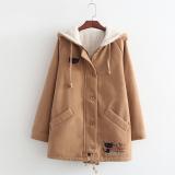 Spesifikasi Gaya Jepang Tambah Beludru Baru Setengah Panjang Model Wol Jas Khaki Baju Wanita Jaket Wanita Paling Bagus