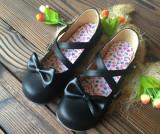 Spesifikasi Jepang Gesper Busur Bulat Pipih Sepatu Sepatu Kulit Kecil Hitam Murah