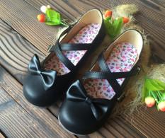 Harga Jepang Gesper Busur Bulat Pipih Sepatu Sepatu Kulit Kecil Hitam Original