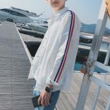 Kemeja Pria Slim Fit Motif Garis Gaya Korea Jepang Putih Putih Terbaru