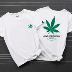 Beli Trendi Pria Gaya Jepang Lengan Pendek Leaveland Dicetak Atasan T Shirt Putih Maple Leaf Baju Atasan Kaos Pria Kemeja Pria Terbaru