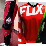 Harga Jerset Jersey Celana Trail Cross Motocross Fox3 Merah Strip Hijau Baru