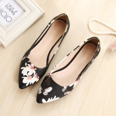 Toko Jetcorn Sepatu Berkualitas Tinggi Wanita Sepatu Santai Women Party Casual Flat Heel Soft Sole Flower Print Pointed Toe Scoop Loafers Single Shoes Black Size 34 43 Online