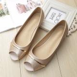 Harga Jetcorn Sepatu Berkualitas Tinggi Wanita Sepatu Santai Women Party Casual Flat Heel Soft Sole Sequins Bowtie Peep Toe Loafers Single Shoes Gold Size 34 43