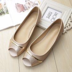 Review Jetcorn Sepatu Berkualitas Tinggi Wanita Sepatu Santai Women Party Casual Flat Heel Soft Sole Sequins Bowtie Peep Toe Loafers Single Shoes Gold Size 34 43 Terbaru