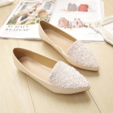 Diskon Produk Jetcorn Sepatu Berkualitas Tinggi Wanita Sepatu Santai Women Party Casual Flat Heel Soft Sole Sequins Pointed Toe Scoop Loafers Single Shoes Apricot Size 34 43