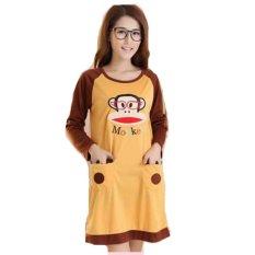 Jfashion Baju Tidur Dress Tangan Panjang Printing Coklat Jfashion Diskon 50