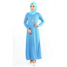 Jfashion Long Dress Gamis Maxi Tangan Panjang corak salur - Maxi salur