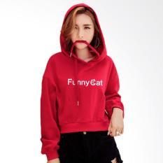 Jfashion Cropped Della Print Jaket Sweater Hoodie Tangan Panjang - Merah