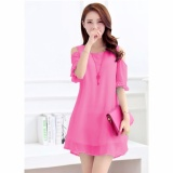 Review Jfashion Dress Sifon Tangan 3 4 Open Shoulder Gaya Korea Beauty Terbaru