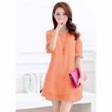 Beli Jfashion Dress Sifon Tangan 3 4 Open Shoulder Gaya Korea Beauty Seken
