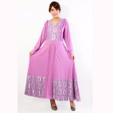 Jfashion Long dress Gamis maxi Kombinasi Corak Simpel Elegan - Yuni