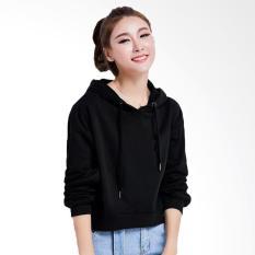 Jfashion Jaket sweater Hoodie Cropped Tangan Panjang - Della Hoodie Hitam