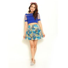 Jfashion Korean Style Floral Skirt - Biru