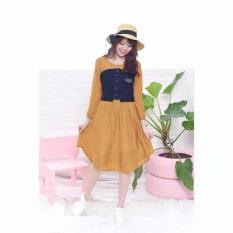 Promo Jfashion Korean Style Midi Dress Combination Corry Coklat Jfashion