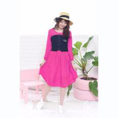 Jual Jfashion Korean Style Midi Dress Combination Corry Fanta Di Indonesia