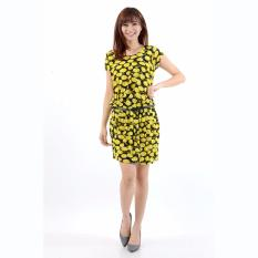 Jfashion Korean Style Midi Dress Motif dotted - Julia Kuning