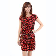 Beli Jfashion Korean Style Midi Dress Motif Dotted Julia Merah Online Terpercaya