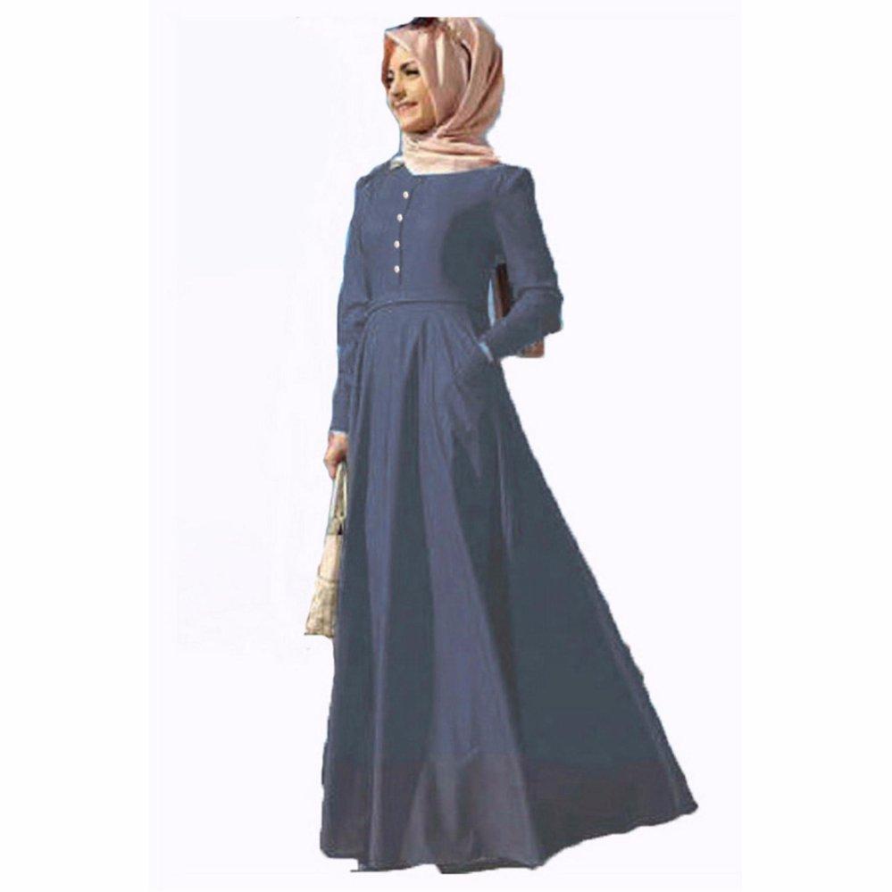 ... Jfashion Long Dress Gamis Maxi Tangan Panjang Wanita Dewasa - Chambray