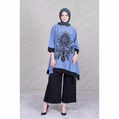 Beli Jfashion New Wide Long Tunik Print Beludru 3 4 Sleeve Arimbi Biru Jfashion Online