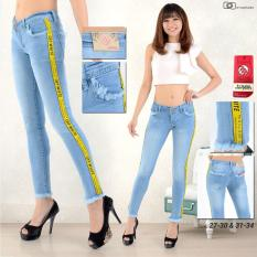Jual Jhf Celana Jeans Ripped Biru List Kuning Baru