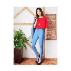 Rp 129.500. JHF - celana jeans wanita highwes ripped kombinasi biru mudaIDR129500