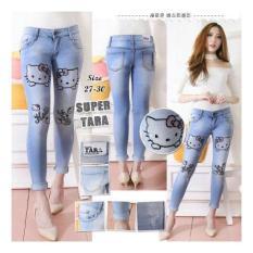 Harga Jhf Jeans Ripped Hello Kitty Denim Celana Jeans Cewek Terbaik