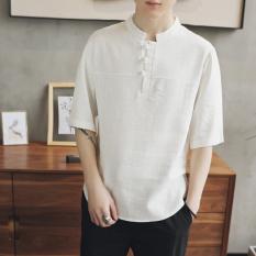 Diskon Atasan Pria Lengan Setengah Panjang Kancing China Katun Linen Longgar Gaya Tiongkok Putih Lengan Pendek Baju Atasan Kaos Pria Kemeja Pria Branded