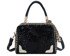 Jiaukon Women Fashion Sequins Leopard Splice Satchel Crossover Bag-Intl