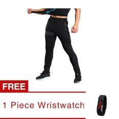 Jiayiqi Hitam Pria Sport Celana Panjang Celana Fitness Workout Joggers Gym Sweatpants (beli1 Gratis1 Freebie) -Intl