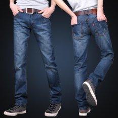 JIEYUHAN Pria Bisnis Kasual Denim Bernapas Lurus Penuh Panjang Celana Jeans Celana Biru-Intl