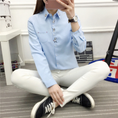 Harga Looesn College Style Embroidered Women S Student Shirt White Shirt Biru Online Tiongkok