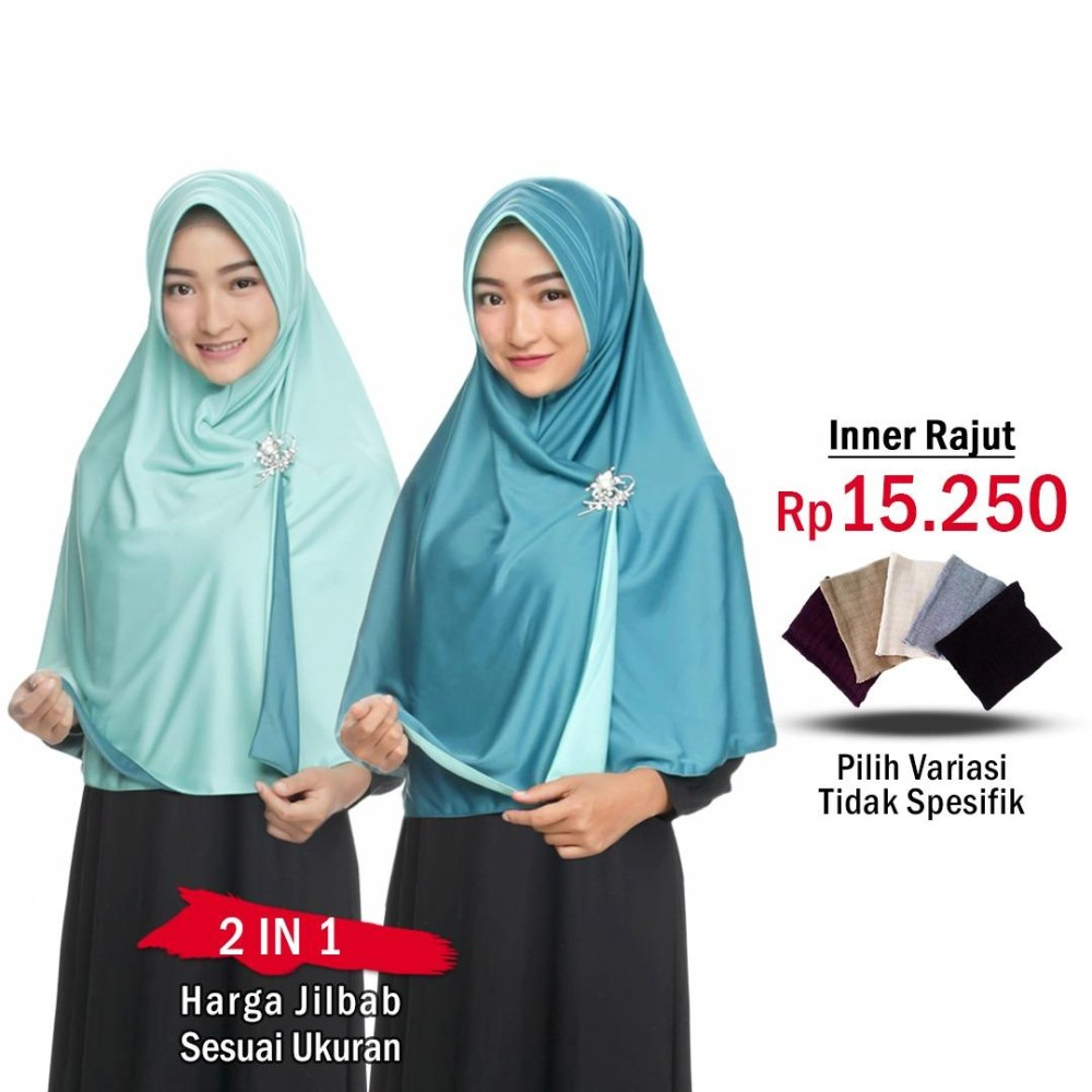 Harga Jilbab 2 Warna Fashion Muslim Terbaru Wanita Kekinian Model Instan Syari Jumbo Rempel Sekarang Jaman Now Bolak Balik
