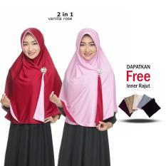 Jilbab 2 Warna / Fashion Wanita / Hijab Muslim Terbaru / Hijab Wanita Muslimah / Kerudung Bolak Balik / Instant 2 in 1 Jumbo Syari / Polos Modern / Terlaris Jaman Now