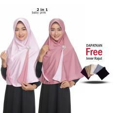 Jilbab 2 Warna / Fashion Wanita Hijab Muslim Terbaru / Kerudung Wanita Muslimah Bolak Balik / Instant 2 in 1 Jumbo Syari Polos / Modern Terlaris Jaman Now