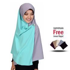 Jilbab 2 Warna Zannah Hijab Fashion Muslimah Atasan Dress Wanita Muslim Jilbab Kombinasi Kanan dan Kiri Jumbo Syari Termurah Terlaris Bahan Wolfis Premium Grade A - Mint Abu Free Inner