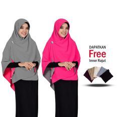 Jilbab 2 Warna Zannah Hijab Kerudung Khimar Bolak Balik Jumbo Syari fashion Wanita Hijab Muslim Terbaru Atasan Muslimah Wanita Ukuran Besar Murah Harga Grosir Modern Jilbab Jaman Now - Abu Fanta