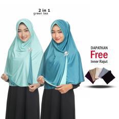 Jilbab 2 Warna / Kerudung Langung Pakai / Langsungan / Hijab Antem Bergo / Daily Hijab / Kerudung Wanita Muslim Terbaru / Jilbab Jaman Now Free Inner Rajut Anti Pusing