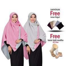 Jilbab 2 Warna Kerudung Segi 4 Bolak Balik Bahan Chiffon Double Hycount All Size Fashion Muslim Terbaru Modern Model Sekarang Hijab Remaja Wanita Jumbo Syari Termurah Kekinian Harga Grosir