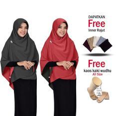 Jilbab 2 Warna Zannah Hijab Kerudung Segi 4 Bolak Balik Bahan Chiffon Double Hycount All Size Fashion Muslim Terbaru Modern Model Sekarang untuk Atasan Remaja Wanita Jumbo Syari Termurah Kekinian Harga Grosir