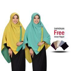 Jilbab 2 Warna Zannah Hijab Khimar Segi Empat Bolak Balik Fashion Wanita Muslim Terbaru Modern Polos Jumbo Syari